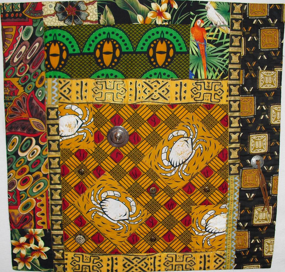 "African Crabs fabric art quilt, 26"" x26"""
